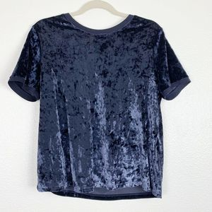 A New Day Blue Crushed Velvet Short Sleeve Top